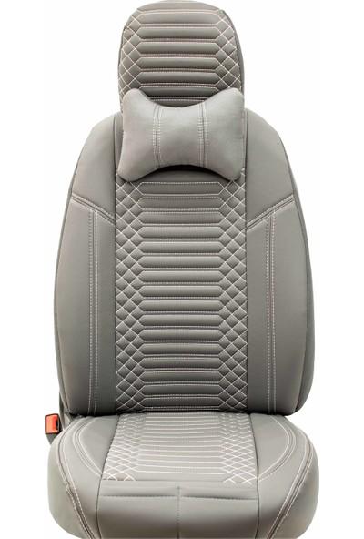 Stiloto Araç Koltuk Kılıfı Lux Deri Exclusive Gri Beyaz