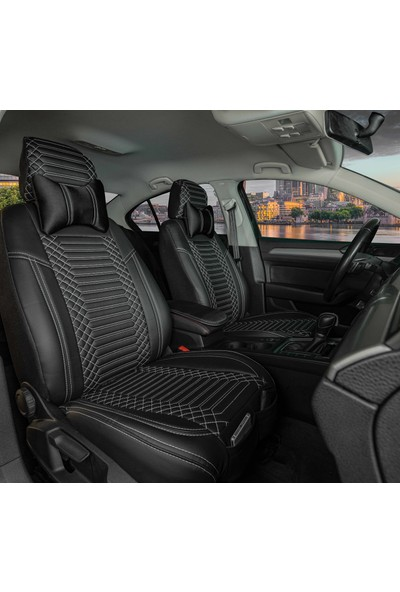 Stiloto Araç Koltuk Kılıfı Lux Deri Exclusive Siyah Beyaz