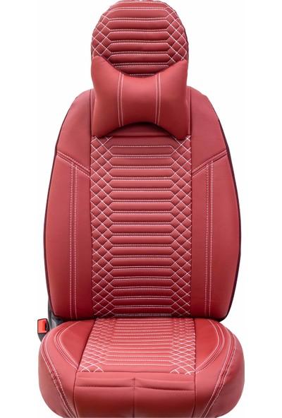 Stiloto Araç Koltuk Kılıfı Lux Deri Exclusive Kırmızı Beyaz