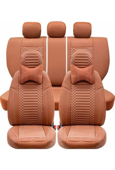 Stiloto Araç Koltuk Kılıfı Lux Deri Exclusive Tarçın Beyaz