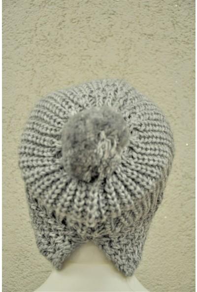Dampigo Yırtmaçlı Triko Örme Papyonlu Bere - DMP-BR013