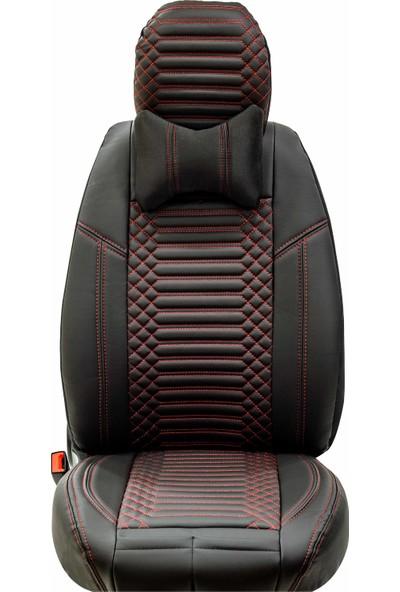 Stiloto Araç Koltuk Kılıfı Lux Deri Exclusive Siyah Kırmızı