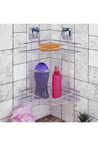 TEKNO Tekno-Tel Yapışkanlı Montaj Iki Katlı Köşelik Banyo Rafı EF-253