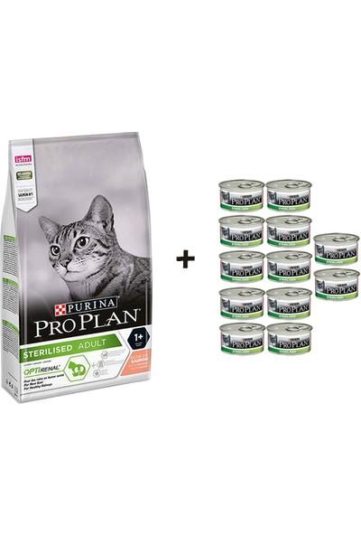 Pro Plan Sterilised Somonlu Kedi Maması 3 kg + 12 Adet Konservesi