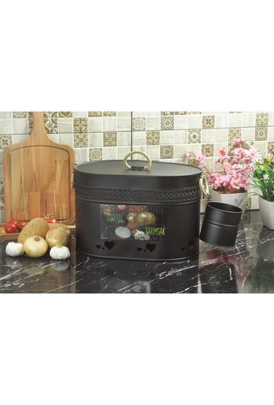 Yıldıray Metal Ferforje Desenli Oval Bölmeli Patates Soğan ve Sarımsak Saklama Kabı