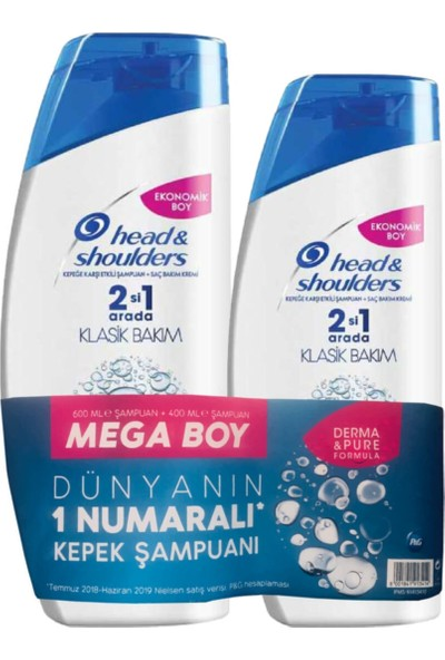 Head&Shoulders 2'si 1 Klasik Bakım Şampuan 600 ml + Klasik Bakım 400 ml