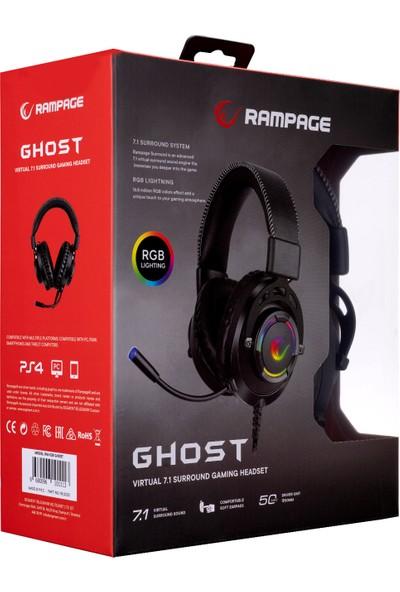 Rampage RM-K28 Ghost Siyah USB 7.1 Surround Rgb Işık Efektli Oyuncu Mikrofonlu Kulaklık
