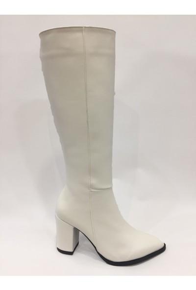 Allina Günlük Şık Beyaz Kısa Topuk Çizme