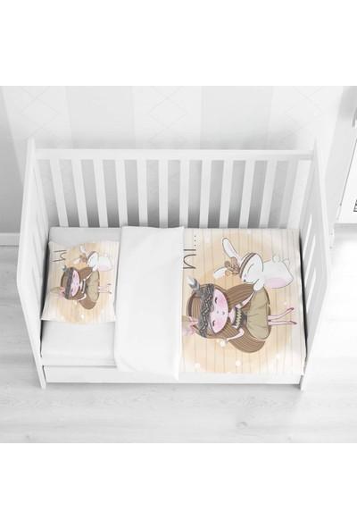 Osso Bohem Kızılderili Kız Tavşan Kahve Bebek Nevresim Takımı