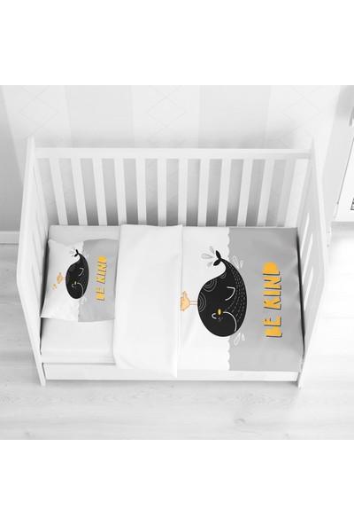 Osso Siyah Sarı Gri Balina 3D Desenli Bebek Nevresim Takımı