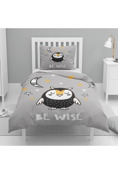 Osso Siyah Beyaz Sevimli Baykuş Desenli Tek Kişilik Çocuk Nevresim Takımı