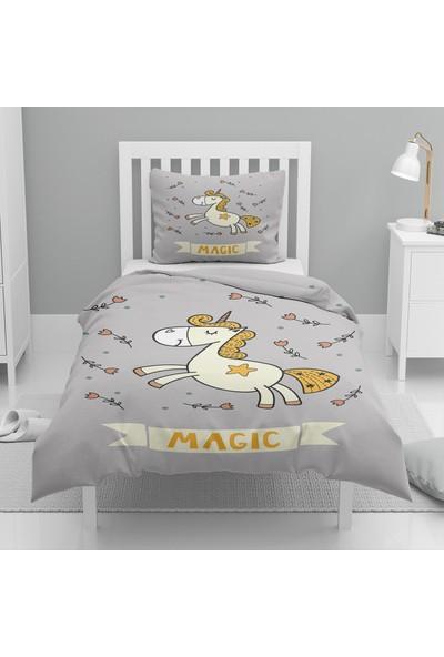 Osso Sarı Gri Atlı Unicorn Desenli Tek Kişilik Çocuk Nevresim Takımı