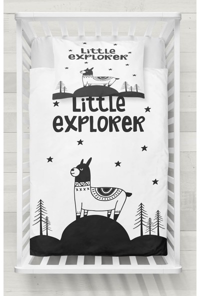 Osso Küçük Kaşif Lama Siyah Beyaz Desenli Bebek Nevresim Takımı