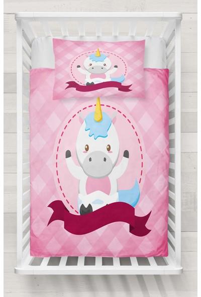 Osso Pembe Mavi Küçük At Unicorn 3D Desenli Bebek Nevresim Takımı