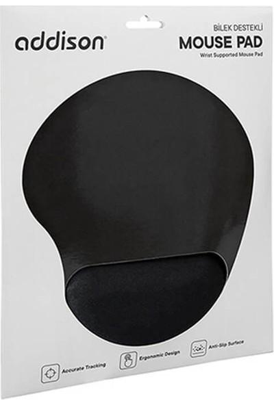 Addison 300521 Bileklik Destekli Siyah Mouse Pad-Siyah