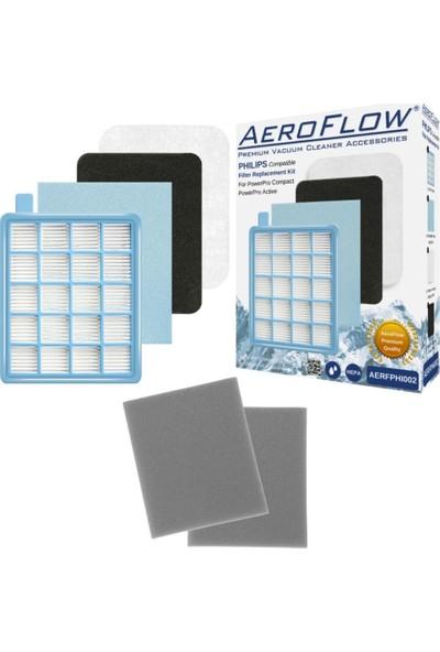 AeroFlow Philips Fc 8517 Fc 8515 Fc 9327 Powerpro Compact Uyumlu Hepa Filtre Seti + 2 Adet Sünger