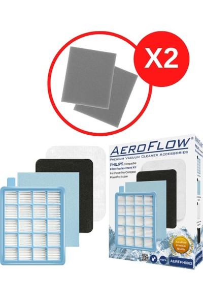 AeroFlow Philips Fc 8646 Fc 8647 Fc9323 Fc9324 Power Pro Uyumlu Hepa Filtre Seti + 2 Adet Sünger