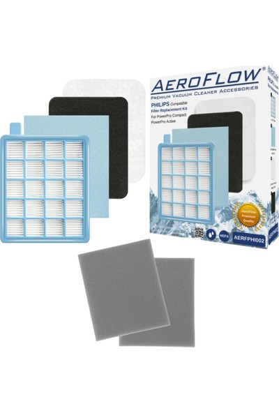 AeroFlow Philips Fc 9531 Powerpro Active Uyumlu Hepa Filtre Seti + 2 Adet Sünger