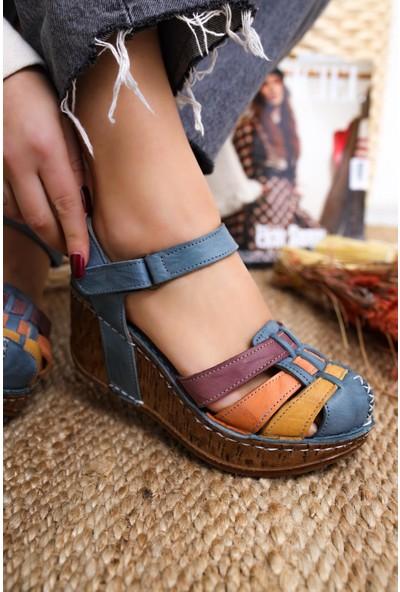 Limoya Margarita Lacivert Hakiki Deri Sandalet