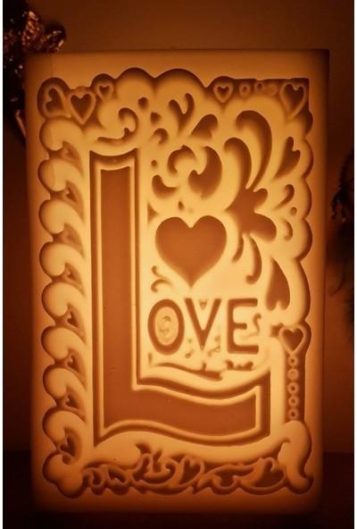 Print Aşk (Love) Desenli Içi Boş Mum 17.5 cm x 19 cm x 30 cm