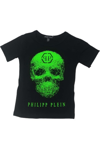 Philipp Plein Erkek Çocuk Kuru Kafa Kabartma Baskılı Kısa Kollu T-Shirt