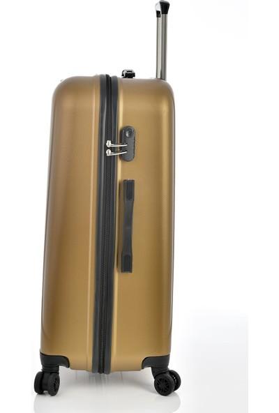 Ehs 1EH10507 Unisex 4 Tekerlekli Büyük Boy Valiz Bronz