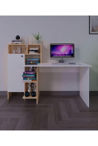 intarz Çalışma Masası, Büyük Ölçü ,kapaklı Mini Dolap, Ekstra Raf ve Saklama Alanlı