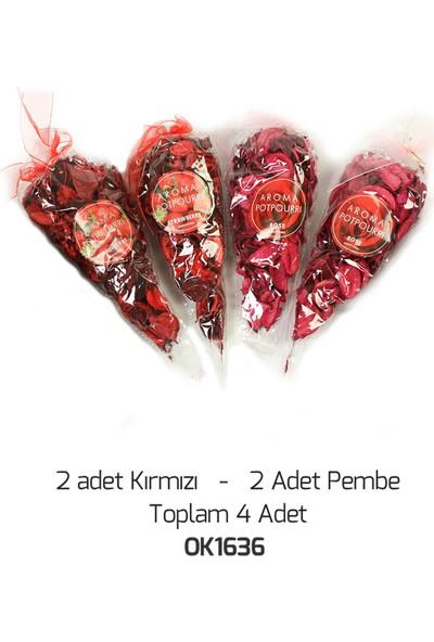 Okumuşlar Hediyelik Dekoratif Kokulu Kırmızı-Pembe Kuru Gül Yaprakları 4 Adet