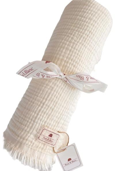 Rose & Blanc Krem 100% Pamuk 4 Katlı Müslin Bebek&çocuk Battaniye 110X120CM