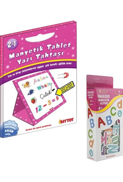 Diy Toy Diytoy Manyetik Tablet Yazı Tahtası Pembe + Manyetik Harfler