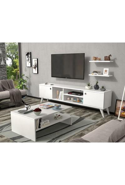Ankara Mobilya Set Poyraz Tv Sehpası ve Lale Orta Sehpa Beyaz