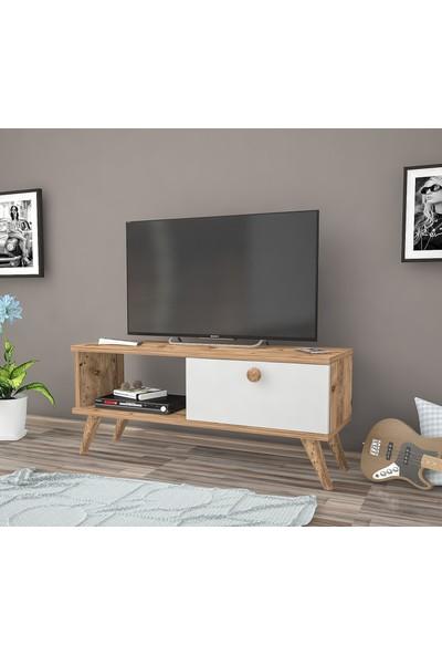 Ankara Mobilya Efe Atlantik Çam Beyaz 90 cm Tv Sehpası