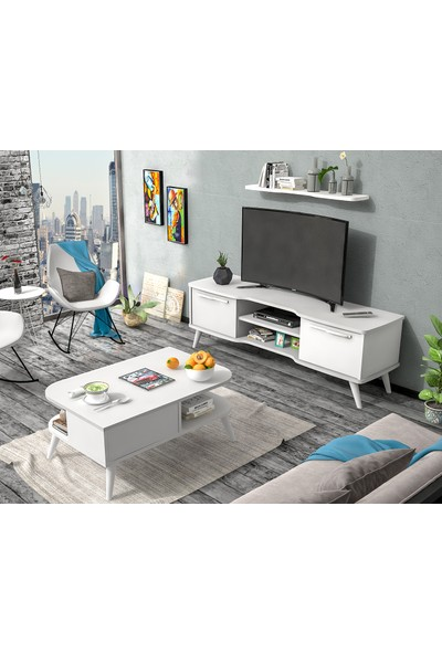 Ankara Mobilya Set Boreas Tv Sehpası ve Nil Orta Sehpa Beyaz