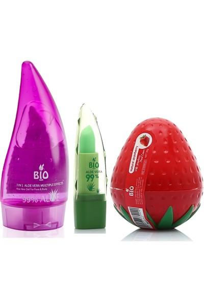 Bio Asia Mini Nemlendirici Set (7in1 Jel + Lip Balm + Çilek El Kremi)