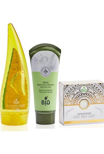 Bio Asia Aloe Vera Q10 & Ginseng Jel + Süt Özlü Peeling Jel + Keçi Sütü Özlü Sabun