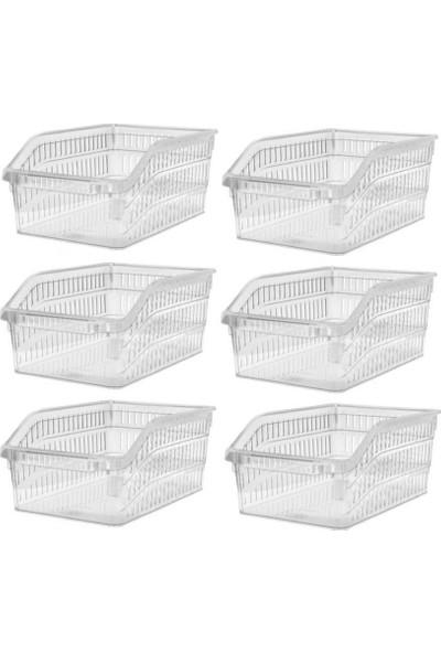 Sas Buzdolabı Sepeti Dolap Içi Düzenleyici Sepet Organizer 6 Adet Şeffaf Büyük Boy 30X20X13 cm