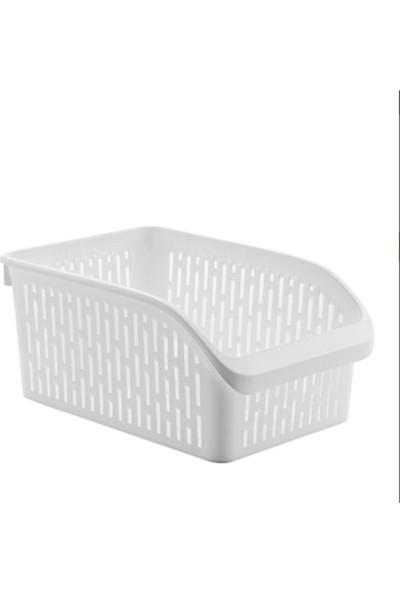 Sas Buzdolabı Sepeti Dolap Içi Düzenleyici Sepet Organizer Beyaz Büyük Boy 30X20X13 cm 4 Adet