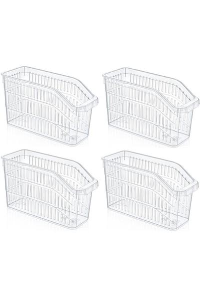 Sas Buzdolabı Sepeti Dolap Içi Düzenleyici Sepet Organizer Şeffaf 4 Adet 30X17X16