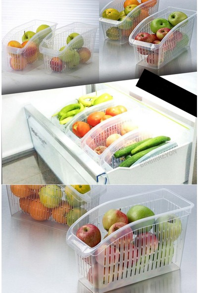 Sas Buzdolabı Sepeti Dolap Içi Düzenleyici Sepet Organizer Şeffaf 5 Adet 30X17X16