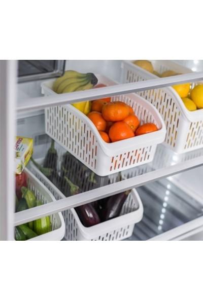 Sas Buzdolabı Sepeti Dolap Içi Düzenleyici Sepet Organizer Beyaz Büyük Boy 30X20X13 cm 6 Adet