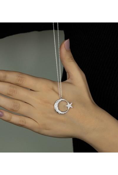 Else Silver Zarif Tasarımlı Kaz Ayağı Elmas Modeli Gümüş Ay Yıldız Kolye