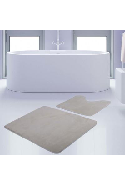 Bonny Home 2'li Unicolor Krem Rengi Kaymaz Taban Banyo Paspası & Halısı Seti