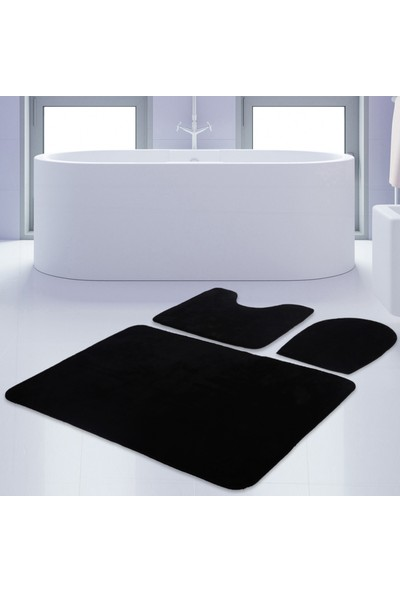 Bonny Home 3'lü Unicolor Siyah Kaymaz Taban Banyo Paspası & Halısı Seti