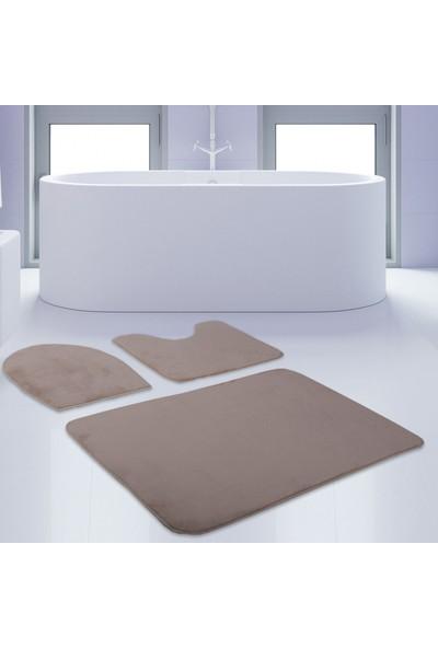 Bonny Home 3'lü Unicolor Vizon Kaymaz Taban Banyo Paspası & Halısı Seti