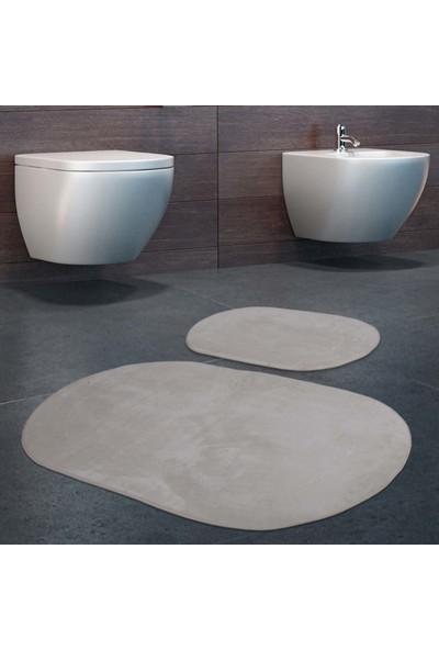 Bonny Home 2'li Rixos Krem Rengi Kaymaz Taban Banyo Paspası & Halısı Seti