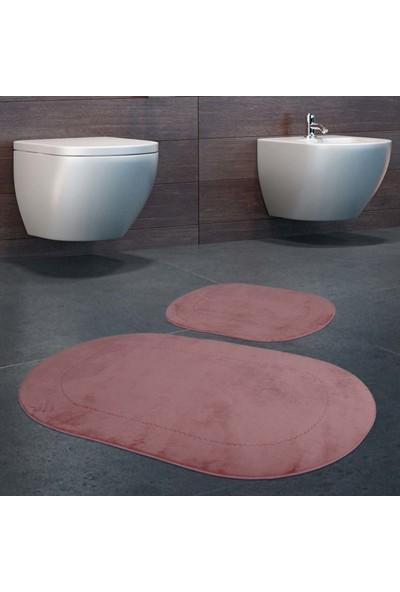 Bonny Home 2'li Rixos Pudra Kaymaz Taban Banyo Paspası & Halısı Seti