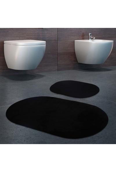 Bonny Home 2'li Rixos Siyah Kaymaz Taban Banyo Paspası & Halısı Seti