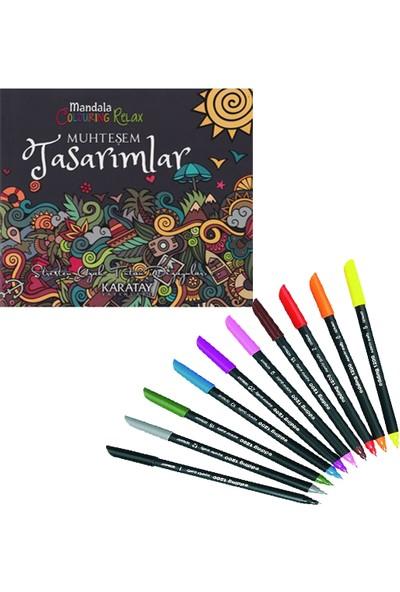Mandala Boyam Kitabı + Edding 1200 Grafik Keçeli Kalem 10 Renk