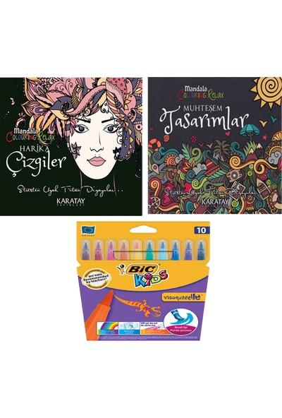 Mandala Boyama Kitabı + Bic Fırça Uçlu Keçeli Kalem 10 Renk