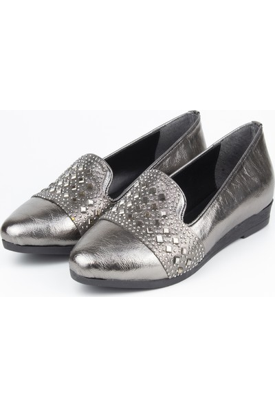 Marine Shoes Kadın Deri Platin Kırışık Babet